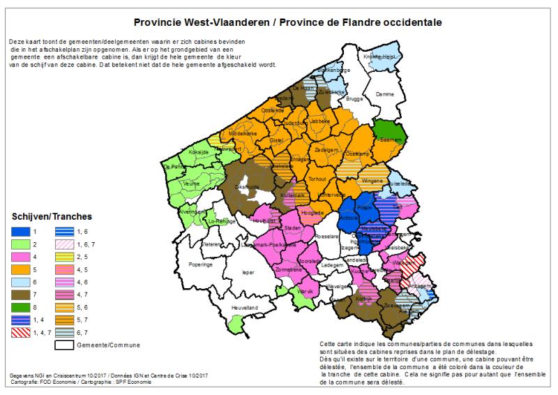 Afschakelplan kaart West-Vlaanderen
